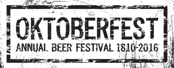 Oktoberfest beer logo festival 2016, retro style text, grunge texture, vector design