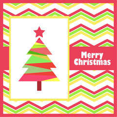 Christmas illustration with colorful tree on zigzag background suitable for Christmas cards