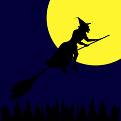 Halloween witch flying on a broom in the full moon night. Vector illustration