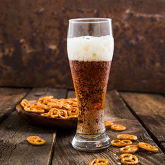 Dark beer and pretzels