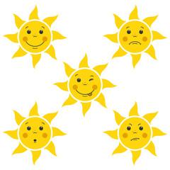 Funny Cartoon Sun Little Faces