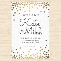 Save the date, wedding invitation card template with golden color circle background. Vector illustration.