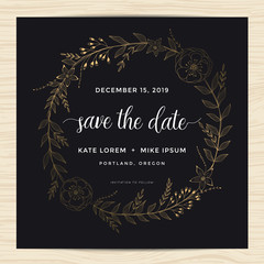 Save the date, wedding invitation card template with golden color flower wreath. Vector illustration.