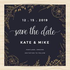 Save the date, wedding invitation card template with golden color flower wreath. Vintage design. Vector illustration.