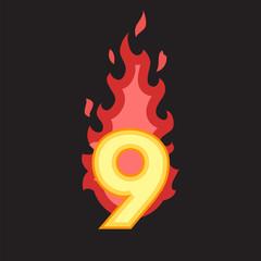Flaming Number nine