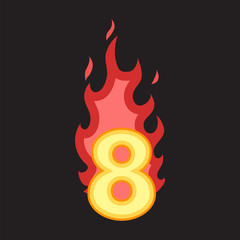 Flaming Number eight