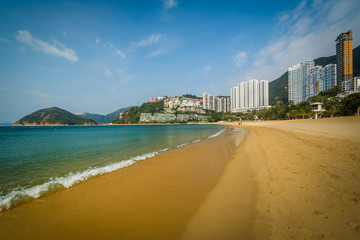 Beach and skyscrapers at Repulse Bay, in Hong Kong, Hong Kong.