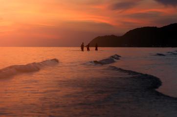 Amazing  beautiful sunset  at the beach .
