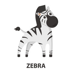 Zebra cartoon icon. Illustration for web and mobile design.