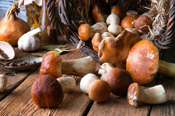 Boletus in wicker basket