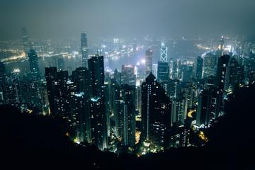 Hazy view from Victoria Peak at night, in Hong Kong, Hong Kong.