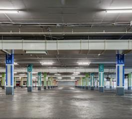Parking garage interior, industrial building,Empty underground p