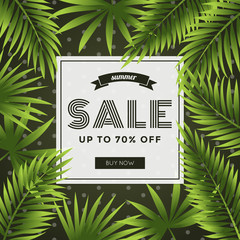 Summer sale, discount special offer banner template with coconut leaf background. Website advertising and promotion. Vector illustration.