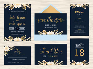 Set of wedding suite template decorate with wreath flowers and golden text includes save the date, wedding invitation, wedding menu, RSVP, thank you card, table number. Vector illustration.
