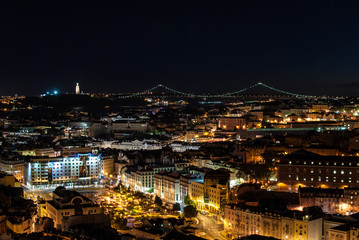 Cityscape of Lisbon Portugal at night