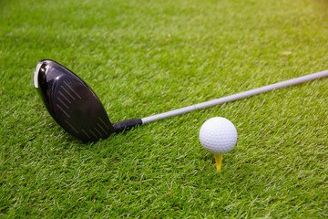 Golf club and golf ball on grass in the summer