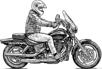 person rides a motorcycle