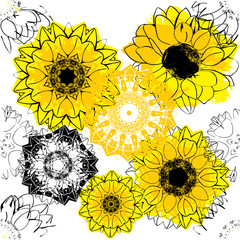 Seamless background pattern with stylized vector sunflowers