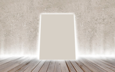 Mock up poster in vintage glowing loft interior, background, tem