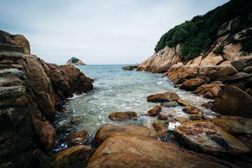 Rocky coast at Shek O Beach, on Hong Kong Island, Hong Kong.