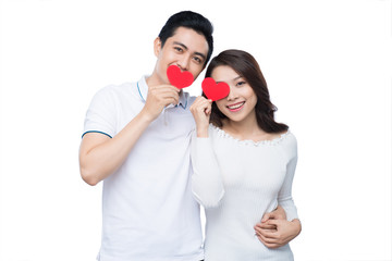 Portrait of happy couple isolated on white background. Attractiv