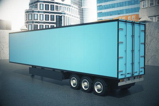 Blue semi-trailer side