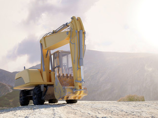 Front view of a large heavy duty excavator
