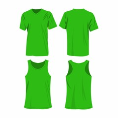 Light green sport top and t-shirt isolated vector set