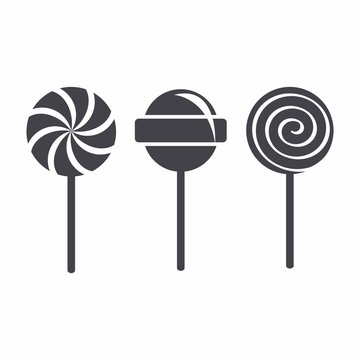 Lollipop isolated vector set
