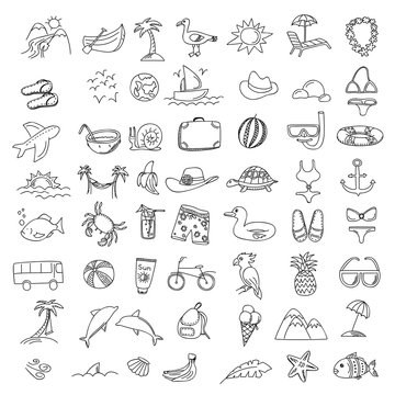 Set doodles elements travel and holiday. Hand draw icons
