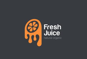 Orange fresh Juice logo design vector. Lemon Logotype icon