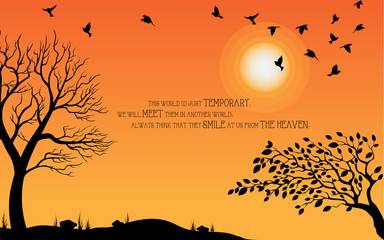 Heaven illustration on theme of Halloween. Bird, tree, sun, and stone silhouette on cemetery in autumn afternoon ambience. Wishes for Happy Halloween. Trick or treat. Vector illustration