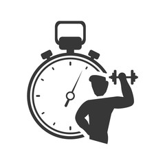 weight lifting chronometer healthy lifestyle fitness silhouette icon. Flat and Isolated design. Vector illustration
