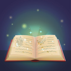 Ancient magic book with alchemy recipes and mystic spells and enchantments, dusty old pages and mysterious cover. Spooky holiday decoration and illustration.