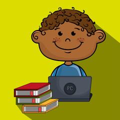 boy cartoon laptop books vector illustration design