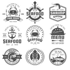 Seafood Black White Restaurant Emblems