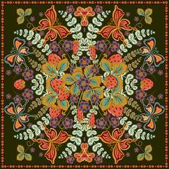 Decorative color floral background, strawberry pattern and ornate lace frame. Bandanna shawl fabric print, silk neck scarf, kerchief design, vector illustration. Tribal ethnic round decoration