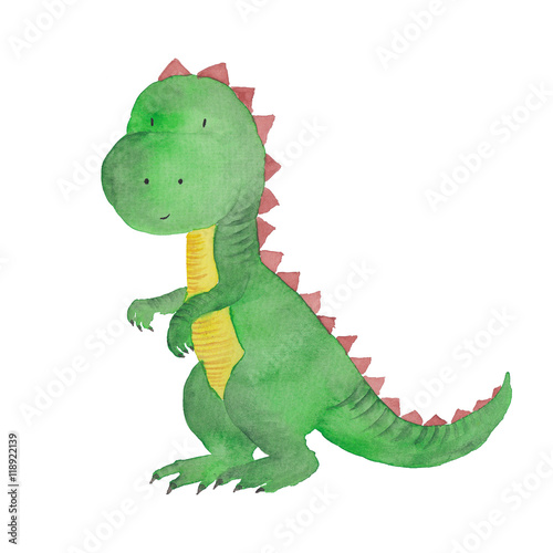 Dinosaur Watercolor Hand painted illustration Isolated Kids Baby Dino Painting