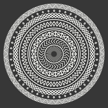 Ethnic mandala. Tribal hand drawn line geometric seamless pattern. Border. Doodles. Native vector illustration. Background. African, mexican, indian, oriental ornament. Henna tattoo style. Circle art