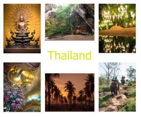 Collection of pictures with views of Thailand: statue of the Golden Buddha, the sacred temple in the cave, walking elephant, silhouettes of palm trees on the background of sunset