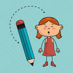 child cartoon pencil icon vector illustration design