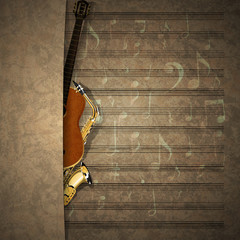 musical background sax and guitar on sheet music notation
