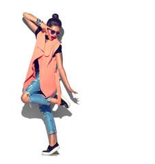 Fashion model girl full length portrait isolated on white background