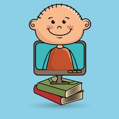 kids screen book icon vector illustration design