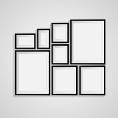 Black blank picture. Frame template poster. Picture frame set. Vector