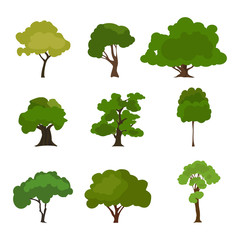 Tree icon set. Rree silhouette forest, leaf tree vector, tree isolated, tree branch
