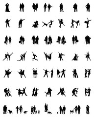 Black silhouettes of couples in various activities, vector
