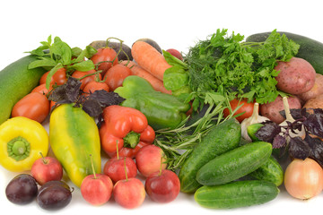 Canvas Prints Fresh vegetables vegetables and fruits on white