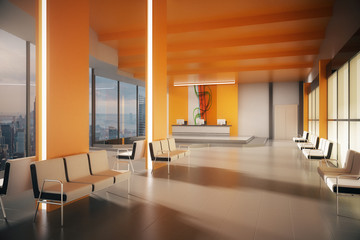 Orange lobby with NY view