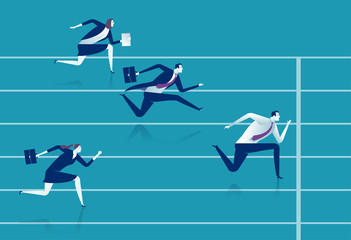 Race. Businessmen running down the track. Business vector illustration